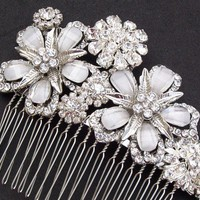 Opal Crystal Rhinestone Flower Comb | JulesBridalJewellery - Wedding on ArtFire