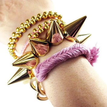 Spikes bracelet, GOLD and SILVER studs spikes bracelet