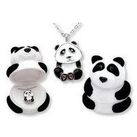 PANDA BEAR NECKLACE WITH SILVERTONE CHAIN:Amazon:Jewelry
