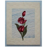 Art Quilt- Burgundy Tulips #1- 11x14