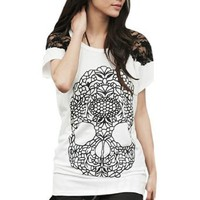 Amazon.com: Allegra K Women Skull Pattern Front Lace Shoulder Scoop Neck Shirt White S: Clothing