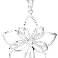 "Sterling Silver Open Double Flower Pendant, 16"" - 18"""