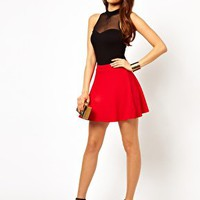 Lipsy Skater Skirt in Textured Jersey at asos.com