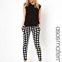 ASOS Maternity Exclusive Peg Trouser in Printed Check at asos.com