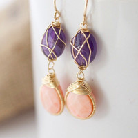 jewels2luv — Amethyst and Coral Dangle Earrings