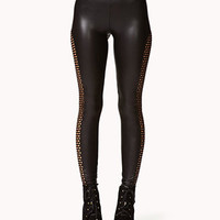 Net Panel Faux Leather Leggings