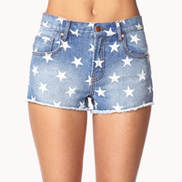Star Print Denim Cut Offs