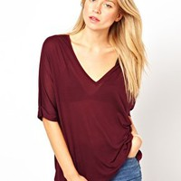 ASOS Premium Silk Mix T-Shirt with Drape V Neck at asos.com