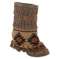 Women's Muk Luks® Cassandra Fringed Spat Boot On Chunky Heel - Brown