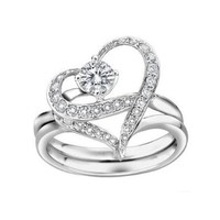 Couples Heart Shape with Cubic Zirconia Wedding Band Single-minded Love Separable Promise Ring:Amazon:Jewelry