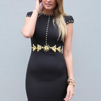 Black Bodycon Dress with Gold Bead Detail & Cutout Front
