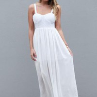 White Maxi Dress with Sequin Top and Strappy Back