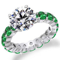 2 ct Round Cut Diamond Green Emerald Eternity Engagement Ring 18k White Gold