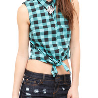 Turquoise And Black Buffalo Check Woven Top | Hot Topic