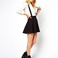 ASOS Ponte Skater Skirt with Braces at asos.com