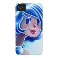 Blue Girl Illustration iPhone 4 Cover from Zazzle.com