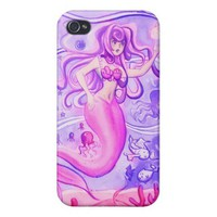 Pink and Purple Mermaid Watercolor Case For iPhone 4 from Zazzle.com