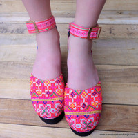 Bright Pink and Orange Hmong Embroidered Platform Ankle Strap Vegan Womens Shoe