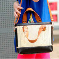 Womens Color Blocking Croco Handbag Totes Shoulder Bags Small Purses Stylish AT