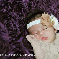 Shannon Headband - All ages - Newborn Photography prop - Vintage Couture Baby Girl Headband