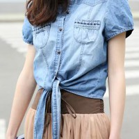 Self-tie Denim Shirt