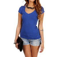 Colbalt Blue V-Neck Tee