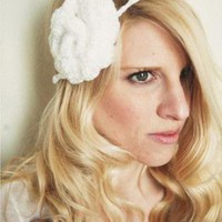 Crochet Headband Bridal White Swirl