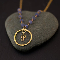 Personalized Initial Necklace - Tanzanite Necklace - Wire wrapped chain - Custom Initials Jewelry - Gold Letter Necklace