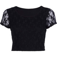 Black lace cap sleeve crop top - crop tops / bralets / bandeau tops - tops - women
