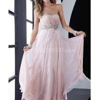 Gorgeous Pink Strapless Ruffle Chiffon Floor Length Homecoming Dress-SinoSpecial.com
