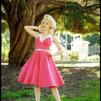 The Rita Dress in Red & White Polka Dot Print by Pinup Couture | Pinup Girl Clothing