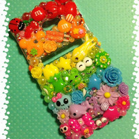 Kawaii Rainbow Bright Decoden Phone Case HTC EVO 4G LTE Deco & Rhinestones