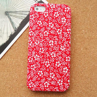 Big Red Flowers  Fabric Phone Case