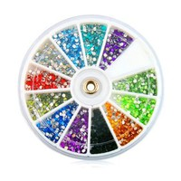 Rhinestones 1800 Pcs 12 Color Nail Art Nailart Manicure Wheels Rhinestones of Nail Art Glitter Gems/3d Designs Glitters Rhinestones Beads:Amazon:Beauty