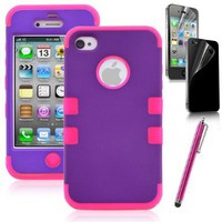 Apple iPhone 4 4S Hard Hybrid Case Cover Rubberize Purple / Pink Silicone TUFF + Screen Protector + Stylus:Amazon:Cell Phones & Accessories