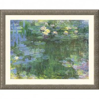 Great American Picture White and Purple Water Lilies Silver Framed Print - Claude Monet - 23206-Silv - All Wall Art - Wall Art & Coverings - Decor