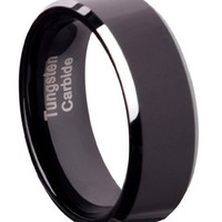 Tungsten Carbide 8 mm (5/16 in) Comfort Fit Flat Wedding Band Ring w/ Black Brushed Center & Silver Beveled Edge, Size 9