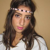 ELASTIC PINK STUDDED HEAD BAND