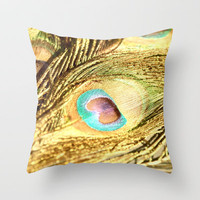 The Golden Peacock  Throw Pillow by Lisa Argyropoulos