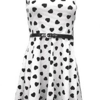 White Heart Print Heart Cutout Skater Skirt
