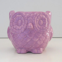 Ceramic Mini Owl Desk Planter Vintage Design in Lavender