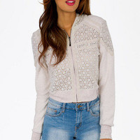 Crochet Bomber Jacket $44