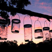 6 Mason Jar Lanterns Hanging Tea Light Luminaries - Wide Mouth Style | TheCountryBarrel - Housewares on ArtFire