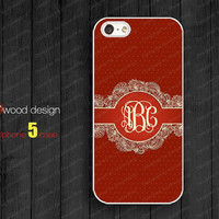 Classic red floral Monogram initials silicone rubber personalized Iphone 5 case Hard Plastic case soft Rubber case iphone 4 case