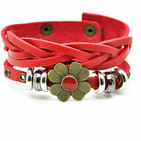 Women leather bracelet Copper Flower Red Leather bracelet Charm Bracelet, Gril Cuff Bracelet  RZ0289