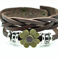 Women leather bracelet Copper Flower Green Leather bracelet Charm Bracelet, Gril Cuff Bracelet  RZ0292