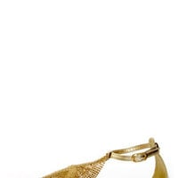 Dior 01 Gold Chain Mail T-Strap Sandals
