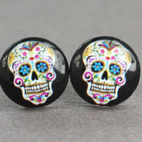 Sugar Skull Earrings  Skeleton Candy Skull Stud by ArtisanTree