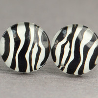 Animal Print Earrings  Black and White Zebra Stud by ArtisanTree