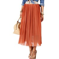Rust Pleated Crochet Waist Skirt